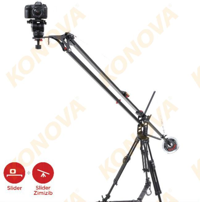 KONOVA SLIDER JIB CRANE + K3 SLIDER + MOTORIZED SMART PAN TILT HEAD + HEAVY DUTY TRIPOD