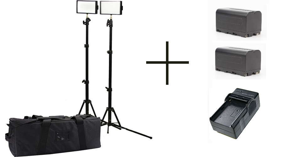 INTERVIEW LED LIGHT DOUBLE KIT CN-5400 +  2 X NP-F970 + 2 X STANDS + 2 X CHARGER