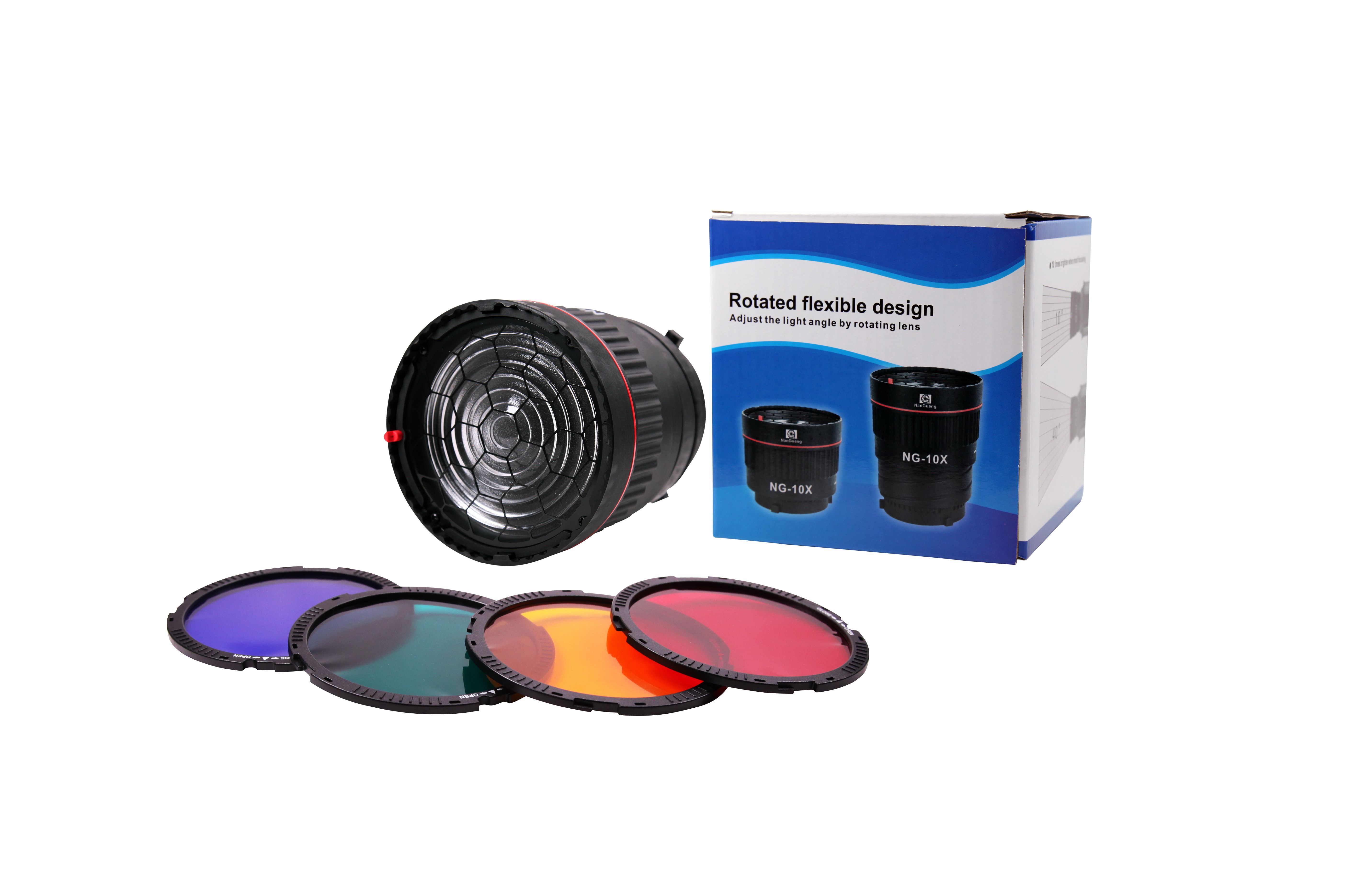 CN-10X ( NG-10X ) STUDIO LIGHT FOCUS LENS + COLOR FILTERS KIT