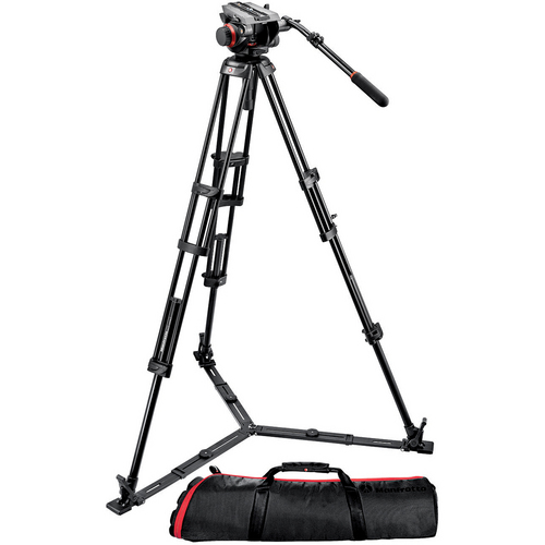 MANFROTTO 502HD FLUID HEAD + JY0508G CARBON FIBER VIDEO TRIPOD 1.8M