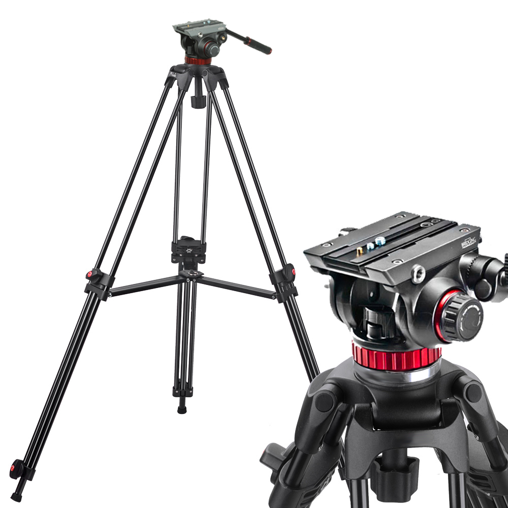 MANFROTTO 502HD HYDRAULIC HEAD + JY0508C CARBON FIBER VIDEO TRIPOD 180CM