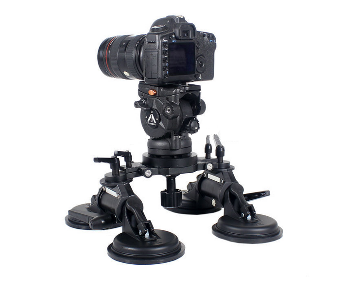 CAME-TV HEAVY DUTY 4 SUCTION CUP CAR RIG with 75 mm BOWL for VIDEO EQUIPMENT 150 Kg