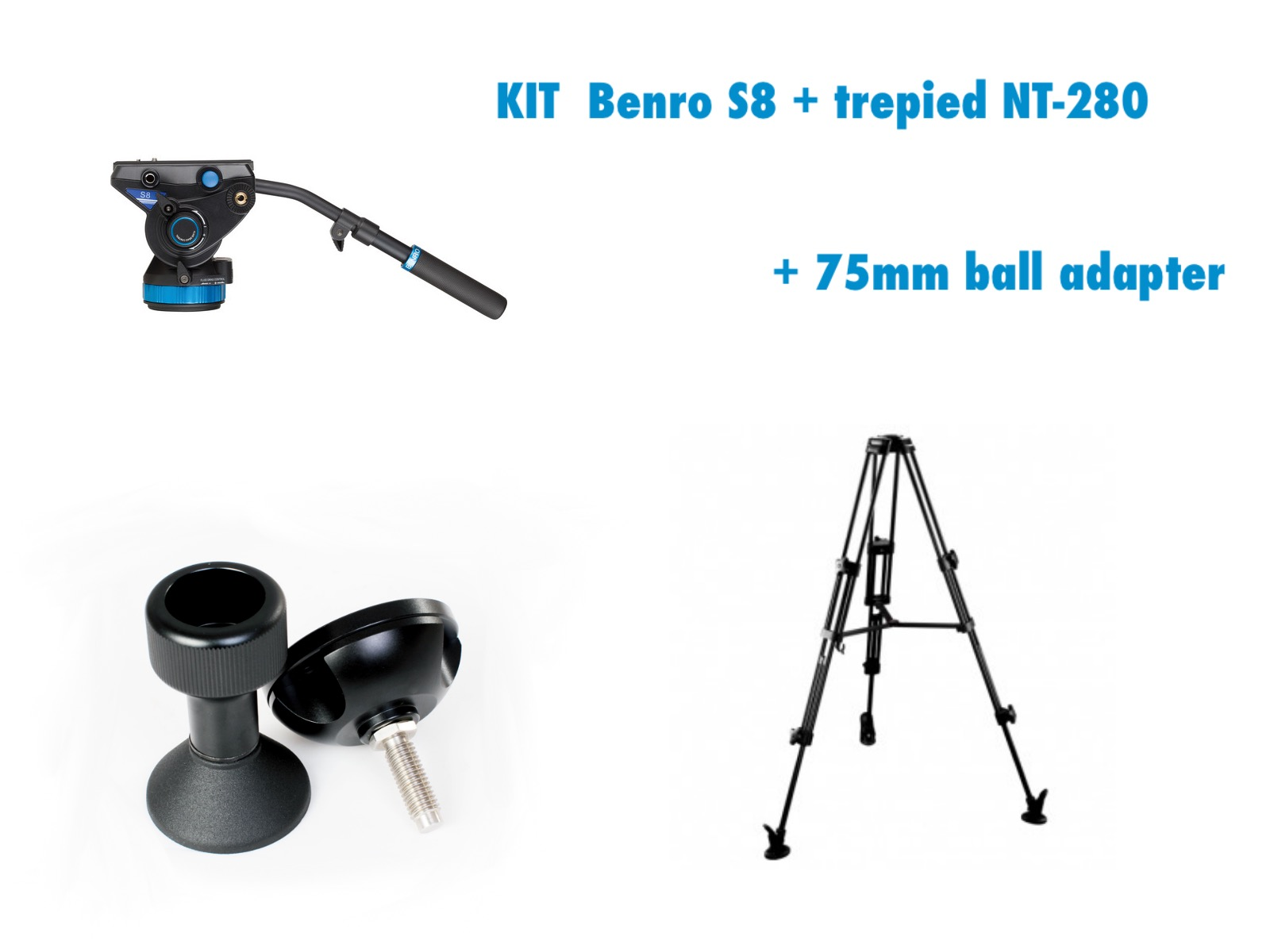 KIT BENRO S8 FLUID HEAD  + NT-280 VIDEO TRIPOD +  75mm Ball Adapter