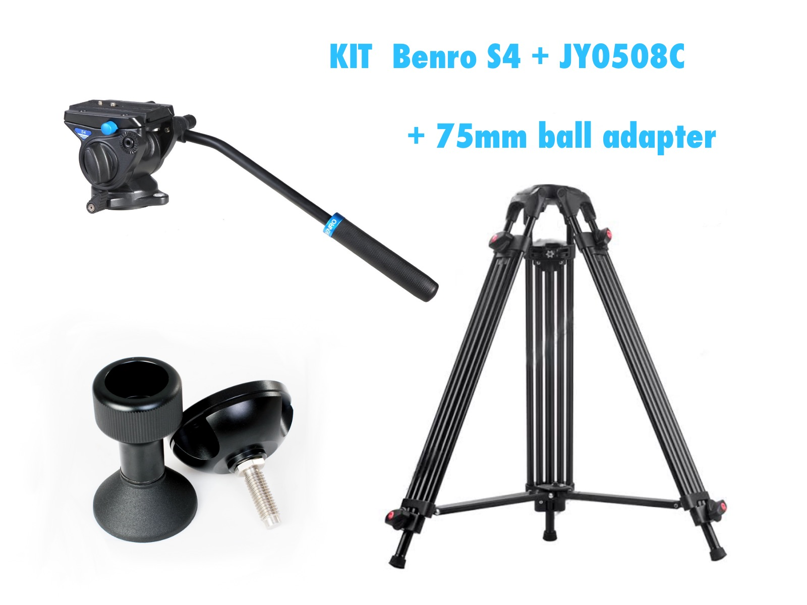 KIT BENRO S4 + BALL ADAPTER+ JY0508C CARBON FIBER TRIPOD  192 CM