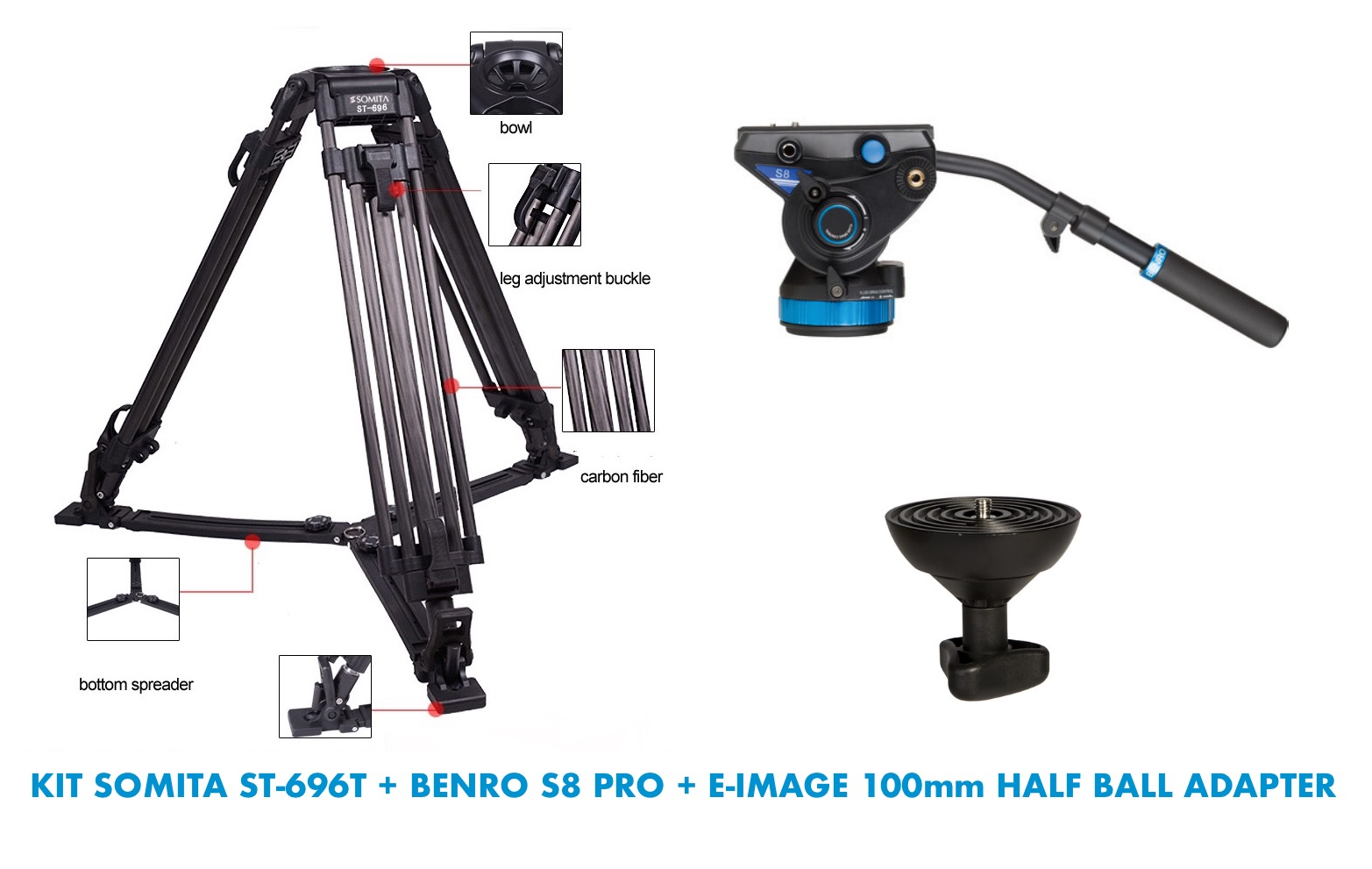 KIT SOMITA ST-696T + BENRO S8 PRO + E-IMAGE 100mm HALF BALL ADAPTER