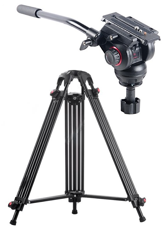 JY0508C CARBON FIBER VIDEO TRIPOD 1.8M + MILIBOO MYT803 PRO FLUID HEAD / 8KG