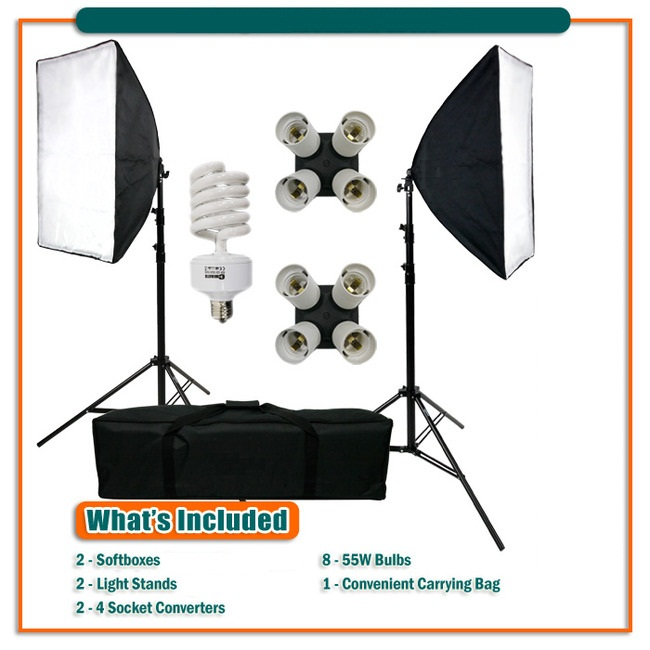 MEETLE DAYLIGHT KIT 432  ( 1000W ) + 2 STANDS + BAG + 2 EZ SOFTBOX