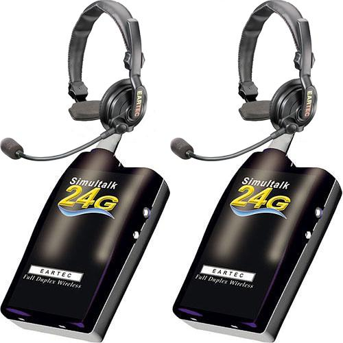 EARTEC SIMULTALK 24G Full Duplex Wireless Intercom 2 Beltpacks with Pro Line Single Headsets