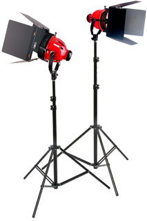 2 X Tungsten REDHEAD CTR-800W ( CTR 800 ) + 2 Pneumatic Stands  ( 1600W )