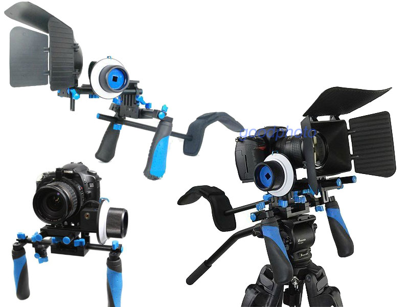 KONOVA DSLR RIG SUPPORT STEADY FOLLOW FOCUS MATTE BOX KIT + BONUS CAGE !