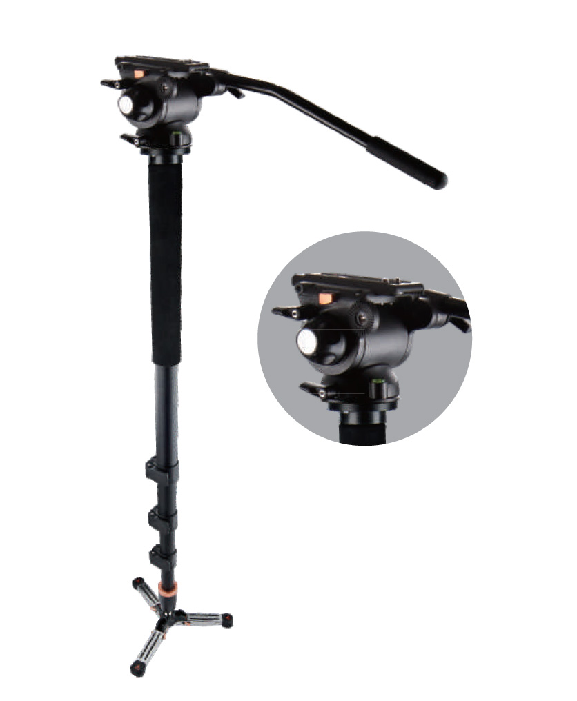 E-IMAGE MC70 (MC-70) CARBON FIBER VIDEO MONOPOD + EI-02H FLUID HEAD