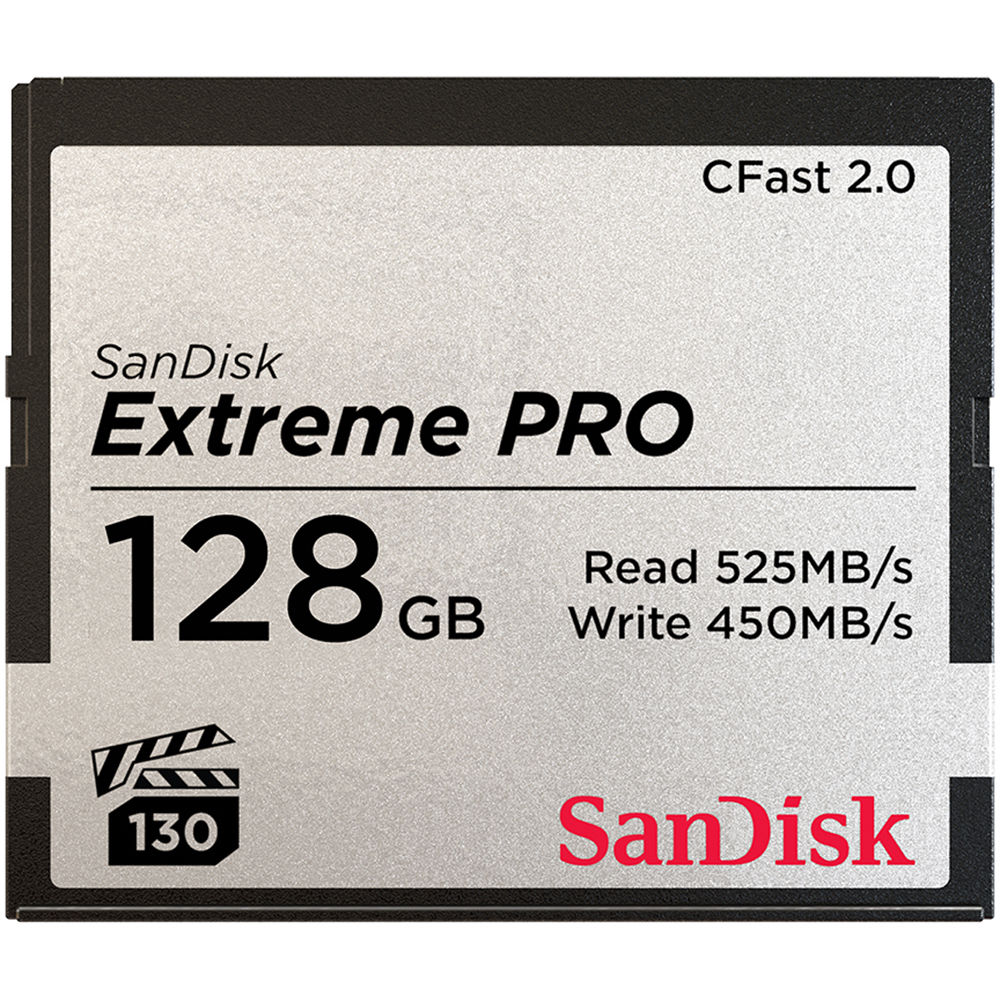 SANDISK CFast 2.0 128 GB Extreme PRO Memory Card 525 MB/s (3500X) SDCFSP-128G-G46D