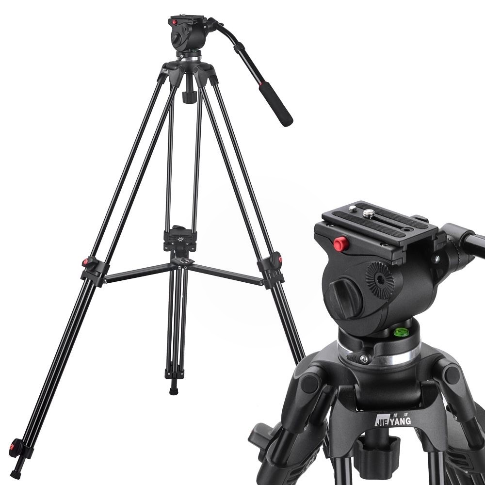 JY0606A ( JY0508A ) ALUMINIUM VIDEO TRIPOD WITH JY0606 FLUID HEAD 6 KG / 190 CM
