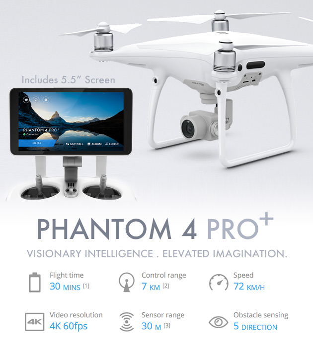 DJI PHANTOM 4 PRO + QUADCOPTER ( with 5.5 inch Display Included )
