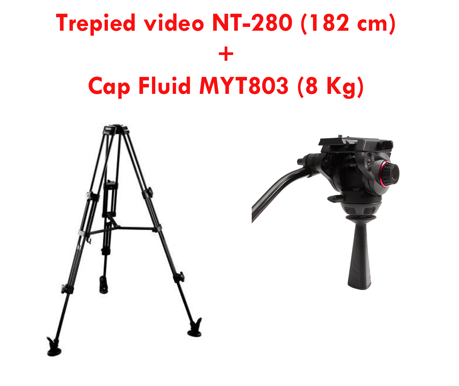 TREPIED VIDEO NT-280 (GA752) 182 cm + Cap Fluid MILIBOO MYT803