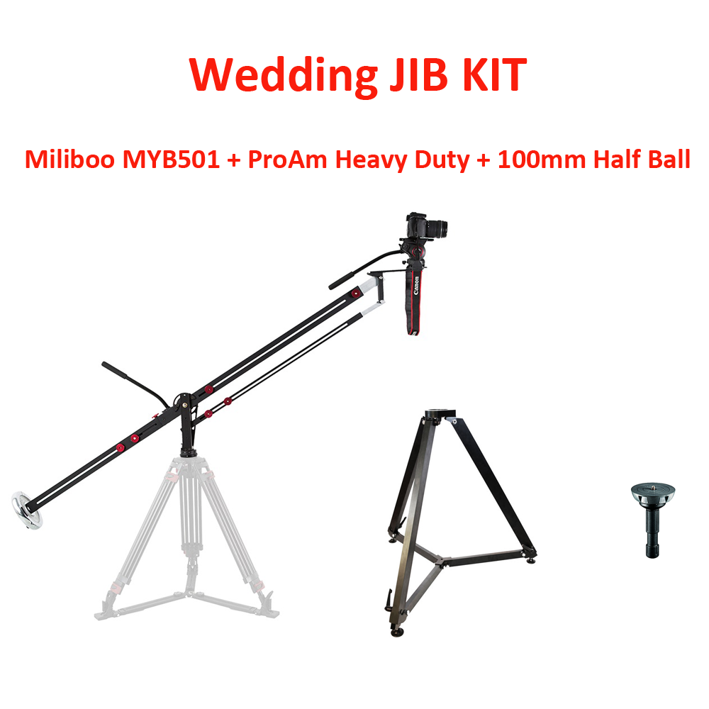 WEDDING JIB KIT: MILIBOO MYB501 + ProAm Super Heavy Duty Stand + 100mm Half Ball