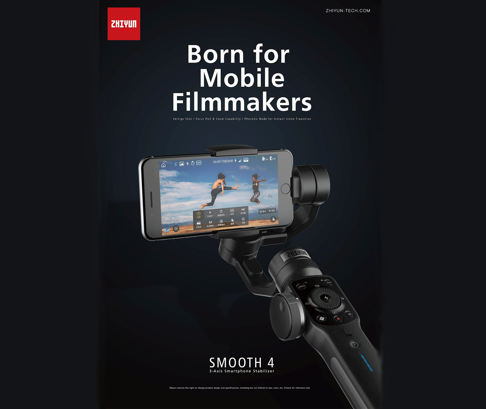 Zhiyun-Tech SMOOTH 4 Smartphone Filmmaker Gimbal with Follow Focus