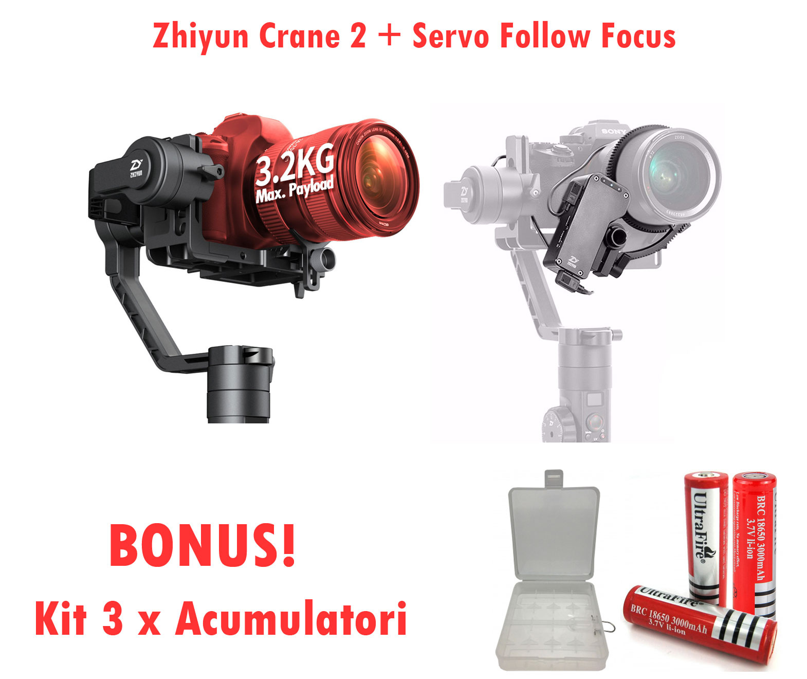 Zhiyun-Tech Crane 2 + Servo Follow Focus + BONUS