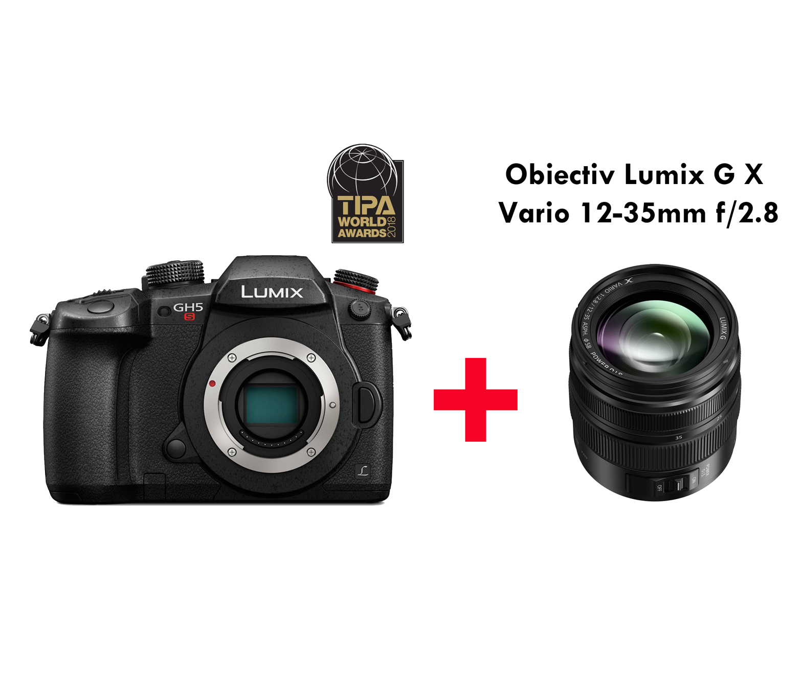 KIT PANASONIC LUMIX DC-GH5S + OBIECTIV PANASONIC LUMIX G X Vario 12-35mm f/2.8 II ASPH. POWER O.I.S.
