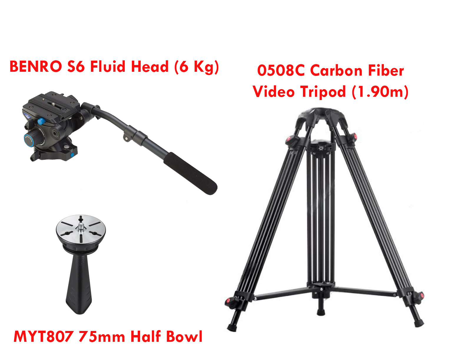 KIT BENRO S6 Fluid Head (6 Kg) + 0508C Carbon Fiber Video Tripod (1.90 m) + MYT807 75 mm Half Bowl