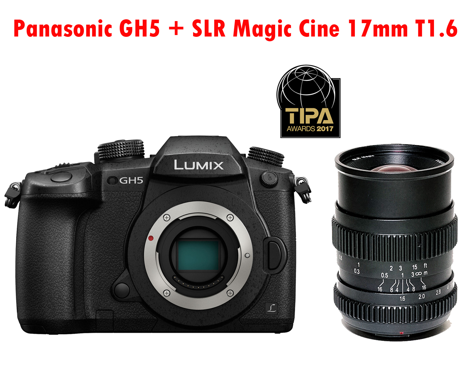 Panasonic Lumix DC-GH5 Mirrorless MFT Camera Body + Obiectiv SLR Magic Cine 17mm T1.6 MFT Mount