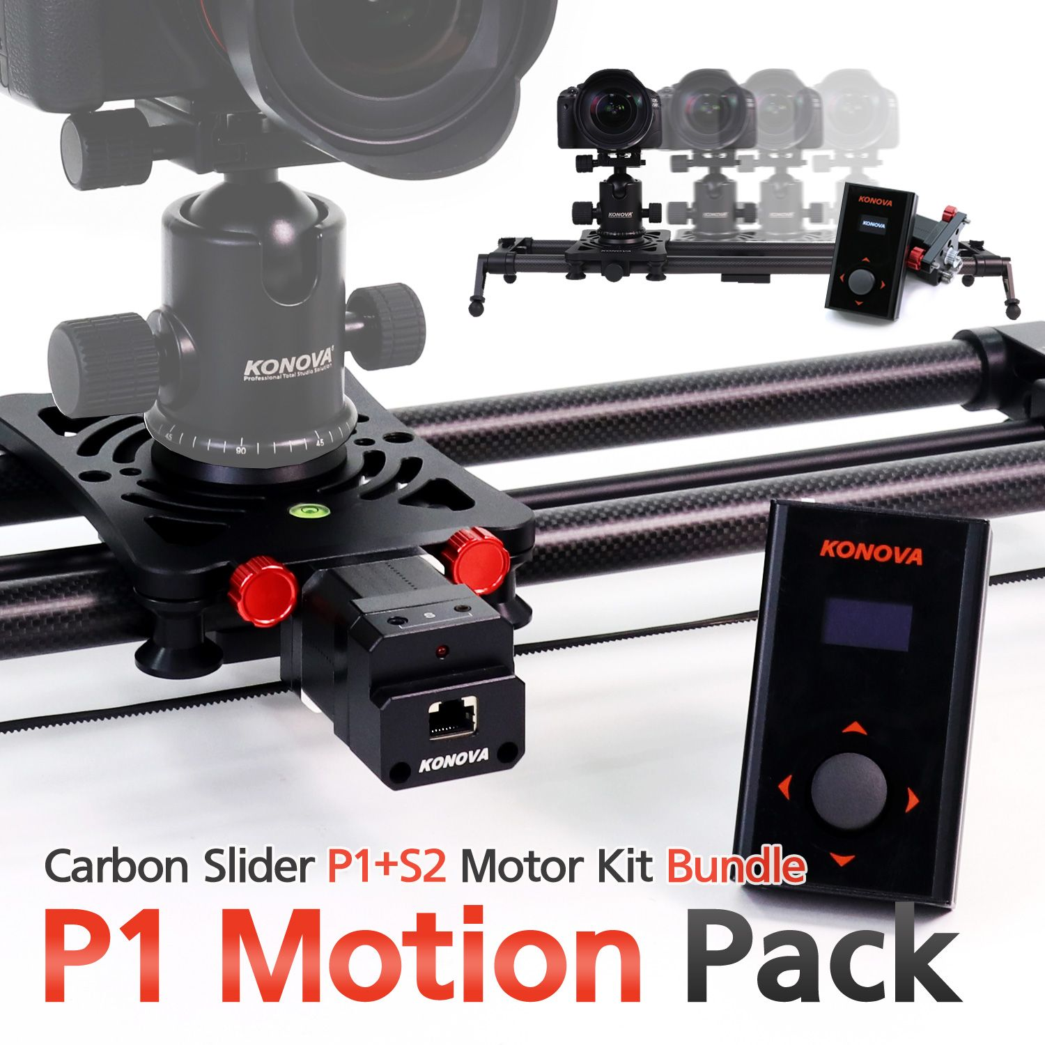 Konova P1 KMS S2 Motorized Carbon Camera Slider 80 cm + Parallax + Timelapse