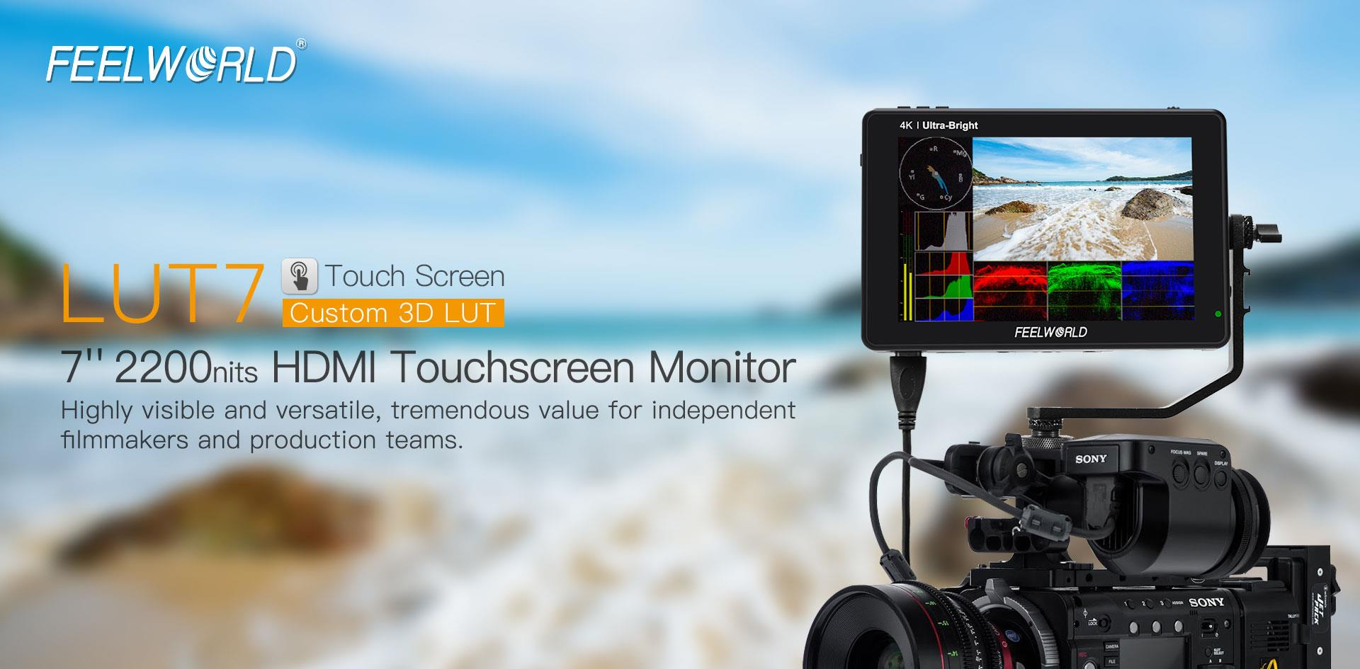 FeelWorld LUT7 7 Inch 3D LUT 2200nits 4K HDMI Touch Screen On-Camera Monitor