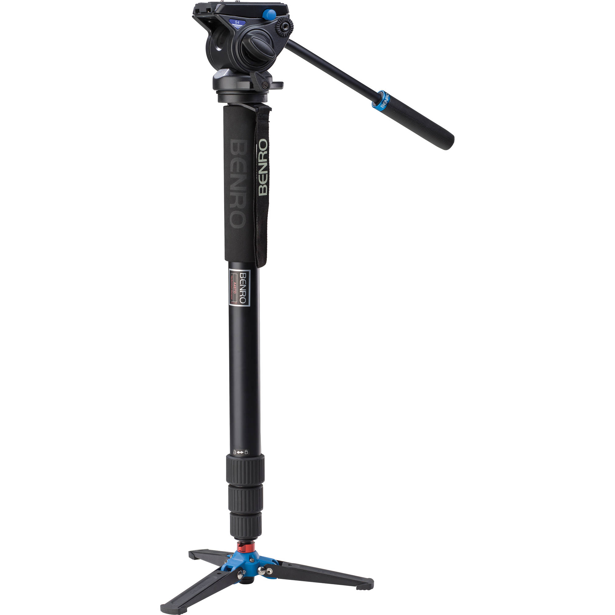 Benro A48TDS4 Aluminum Video Monopod + S4 Fluid Head