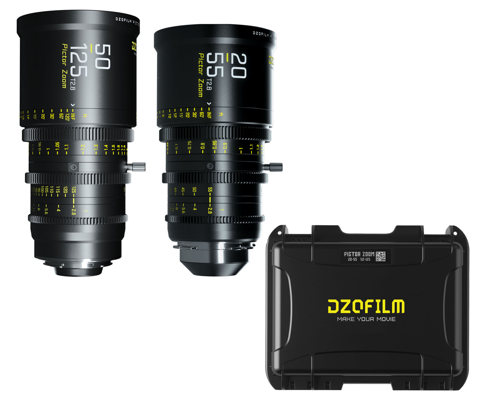 DZOFilm 50-125mm and 20-55mm T2.8 Pictor Zoom Lens Bundle with Case - PL/EF Mount